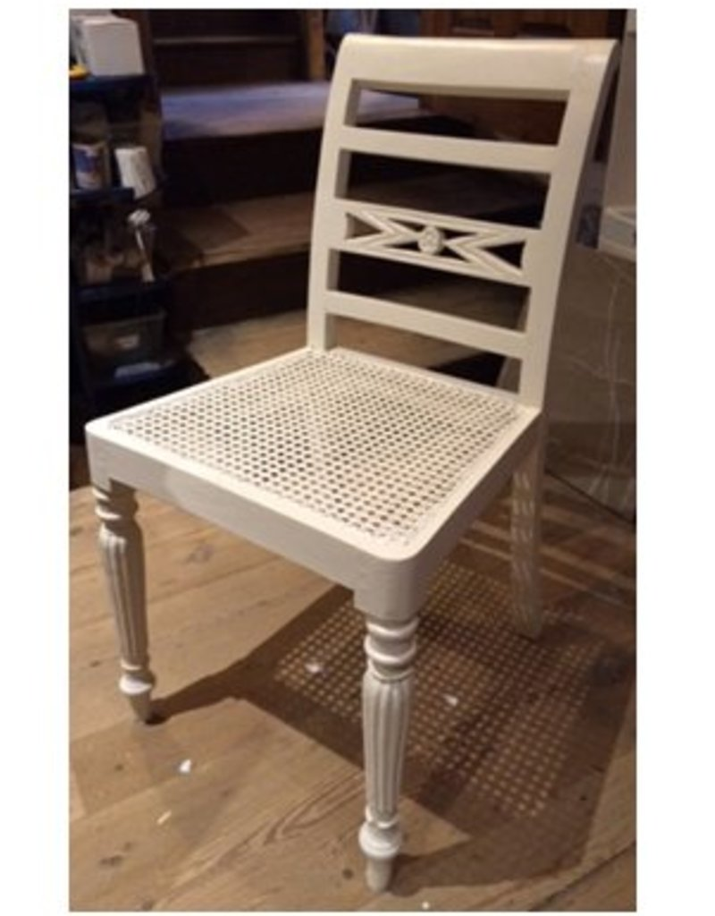 Cream Chair with Wicker Seat
