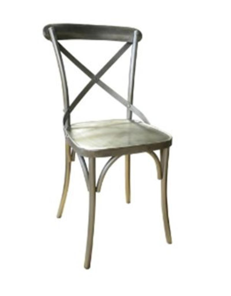 North American Country Home Cross Frame Metal Dining Chair