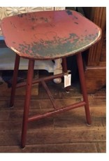 Red Distressed Heart Tractor Seat Stool