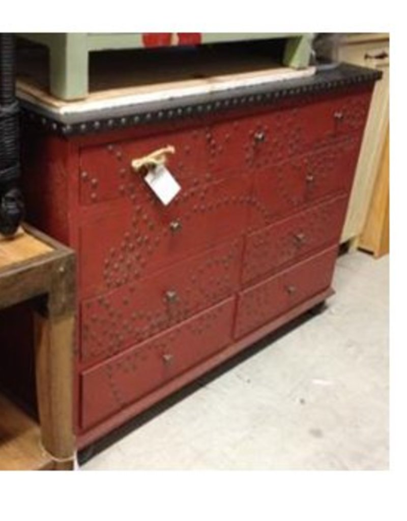 Red Dresser with Studs