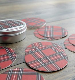 Harman Holiday Plaid Paper Coaster w/Tin Set of 12