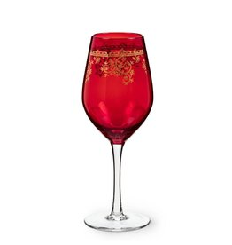 Abbott Red Goblet Gold Filigree