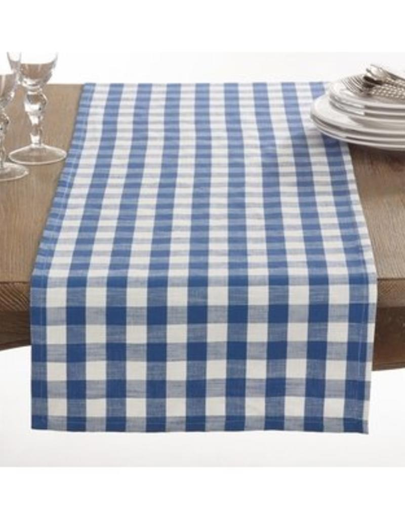 Saro Trading Company French Blue Gingham Design Runner