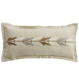 HiEnd Accents Embroidered Linen Pillow 11x26