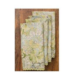 April Cornell Jacob's Court Green Linen Napkins, Set of 4