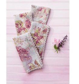April Cornell Victorian Rose Amethyst Linen Napkins, Set of 4