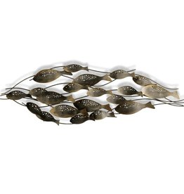 Style Craft Home Collection Fish School Forged Metal Wall Sculpture