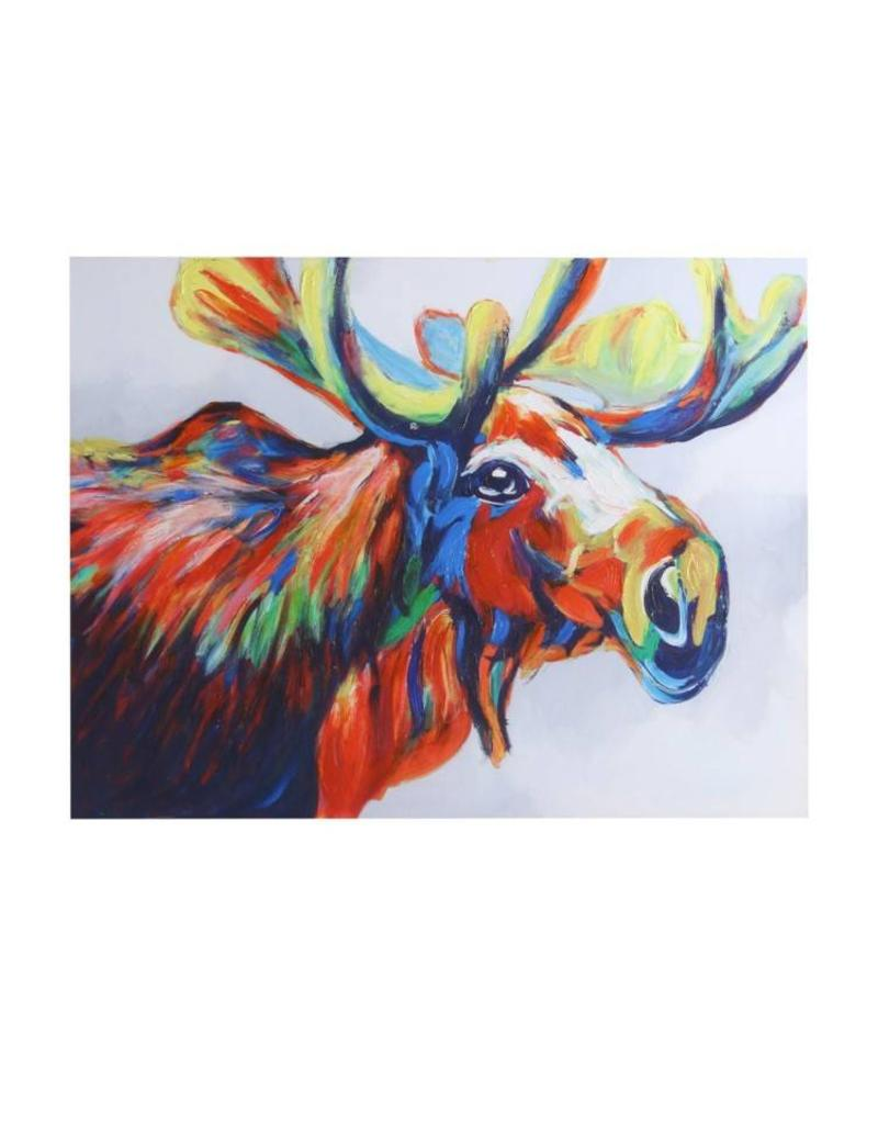 Style Craft Home Collection Print of Hand Painted Moose Canvas