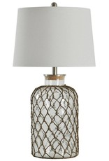 Style Craft Home Collection Seeded Glass and Netting Table Lamp