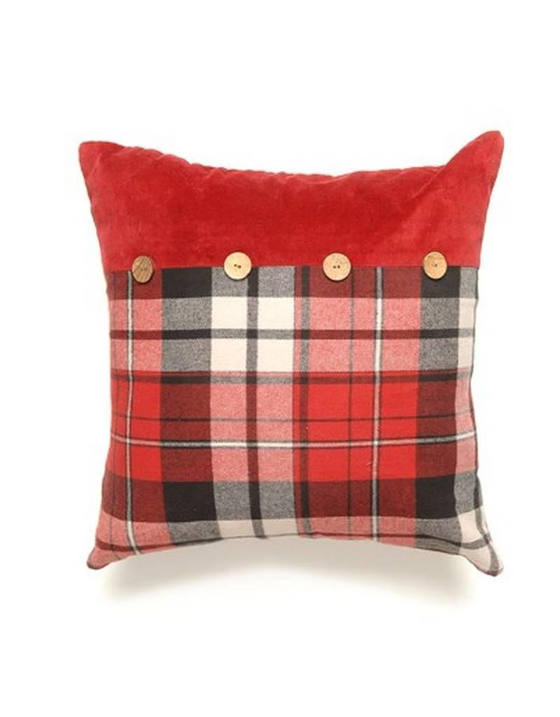 ADV Toss Pillow - Grey & Red Check