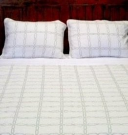 New New Horizons Geometry Queen Quilt and Shams, White