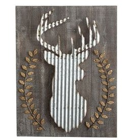 Creative Co-op Wood & Corrugated Metal Deer Wall Decor