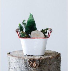 Creative Co-op Square Metal Bucket with Wood Handles