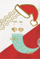 Old Country Design Christmas Mermaid Cocktail Serviettes