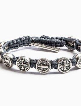 My Saint My Hero My Saint My Hero Benedictine Blessing Bracelet Slate/Slv BBS-105