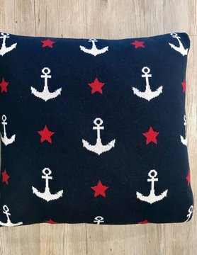 "CREATIVE COOP Creative Co-op 20"" Sqr Cotton Pillow Anchr & Star DA8971"