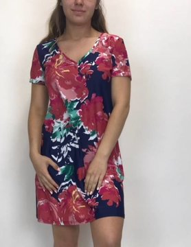 ARYEH Aryeh Printed S/S Dress Navy/Pink DRY-808