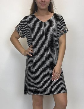 Mystree Mystree Vnk Strpe Shft Dress Blk/Ofwht 15559E