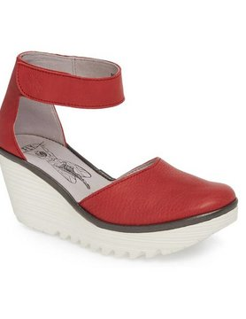 FLY LONDON Fly London Yand Closed Toe Ankle Strap Red