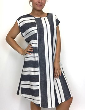 Beau Jours Beau Jours Stripe Dress Indigo 3LS6060