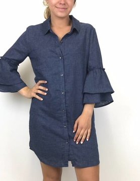 splendid Splendid Ruffle Slv Shirt Dress Chmbray