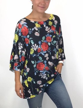 Nally & Millie Nally & Millie Floral Tunic Black Multi