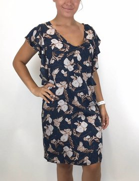 splendid Splendid Flutter Sleeve Vneck Dress Navy