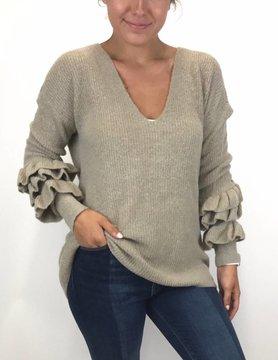 Mystree Mystree Ruffle Sleeve Sweater Taupe