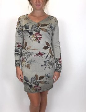 M Made In Italy M Made In Italy Floral Tunic Taupe