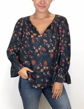 Lucky BRAND Lucky Brand Printed Bell Sleeve Top Multi