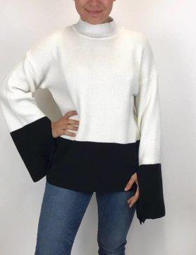 Mystree Mystree Open Slit Sweater Blk/Offwhite