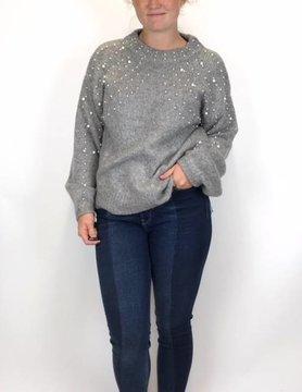Esqualo Esqualo Boxy Pearl Detail Sweater Grey