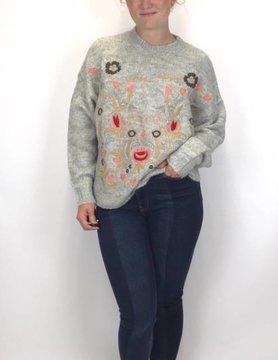Esqualo Esqualo Embr Sweater Light Grey