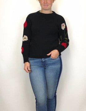 Lucky BRAND Lucky Brand Embroidered Sleeve Pullovr Black Multi