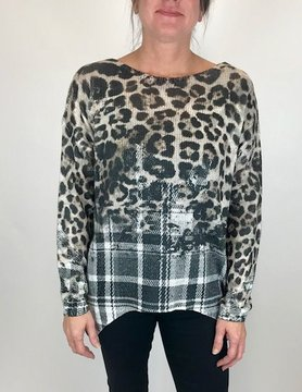M Made In Italy M Made In Italy Leopard Top Beige Combo