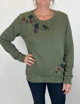 Lucky BRAND Lucky Embd Flowers Sweatshirt Olive