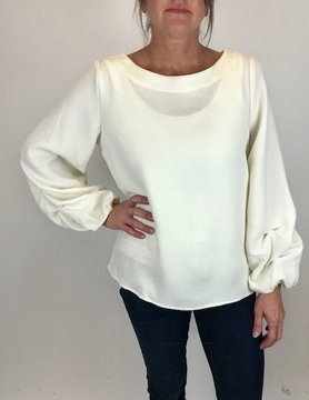 Beau Jours Beau Jours Rushed Sleeve Top Cream