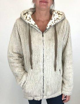 Mystree Mystree Mix Fur Zip Hoodie Jacket Mocha