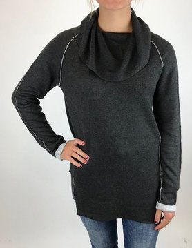 Ost Ost Cowl Neck Pullovr Charcoal