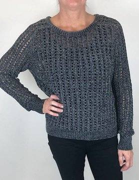 Lilla P Lilla P Open Stitch Sweater Carbon