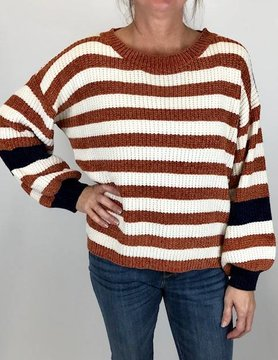wild heart Woven Heart Sweater Nvy/Rust Stripe
