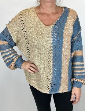 Hem & Thread Hem & Thread Vnk Stripe Knit Sweater Taupe