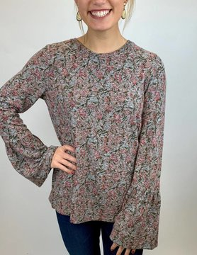 Lucky BRAND Lucky Hacci Bell Sleeve Top Pink Mlti