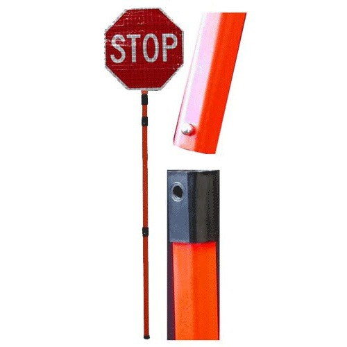 """18"""""""" Superbright Roll up sign (Stop/Slow) with 3 piece pvc poll  made by Dickies"""