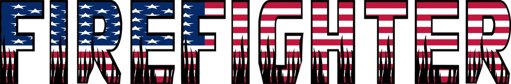 "Firefighter Text  USA Flag with Black Flames Sm Decal ~ 12"" x 2"""