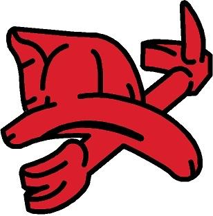 Large Red Helmet & Haligan - Red with Black Outline