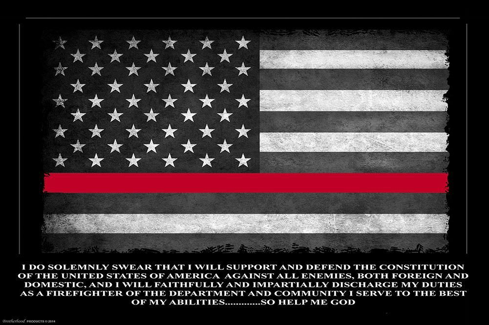 Thin red line oath of office framed print 911 rapid response for Red line printing