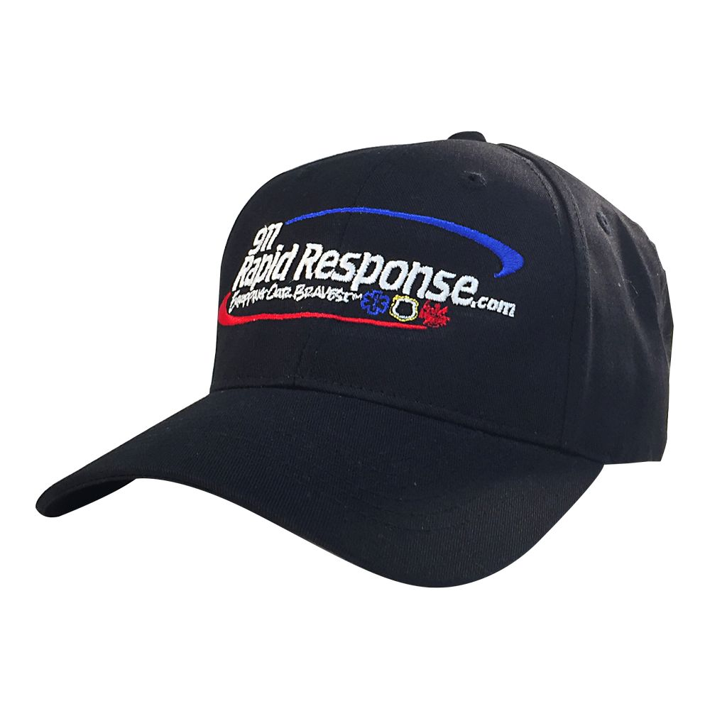 911RR Apparel 911 RAPID RESPONSE BLACK HAT, VELCRO