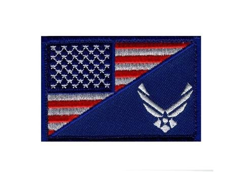 AMERICAN FLAG / AIR FORCE PATCH (EMBROIDERED HOOK) (BLUE)
