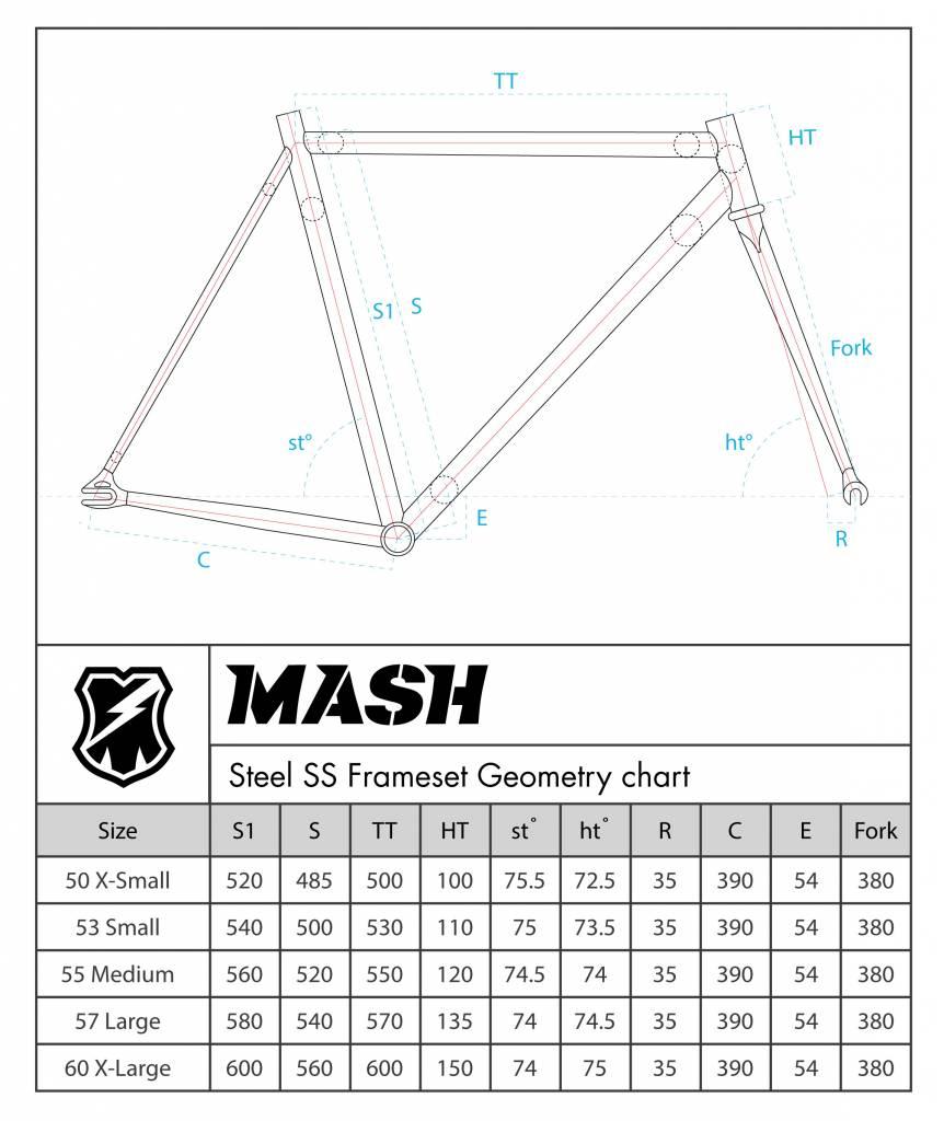 MASH Steel Frameset Silver Smoke